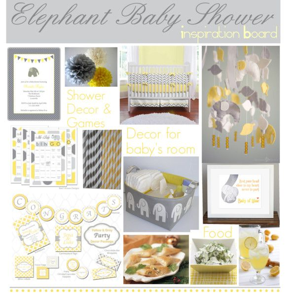 Elephant Baby Shower Inspiration Board, created by thelifeoftheparty on Polyvore