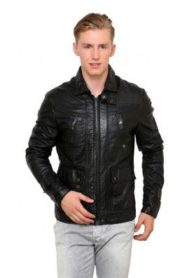GUAVA WASHED LAMB LEATHER JACKET WITH ZIPPER POCKETS IN FRONT