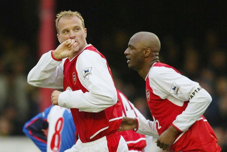 Dec.14th. 2003 : Dennis Bergkamp celebrates scoring in a game that finished Arsenal 1 Blackburn Rovers 0
