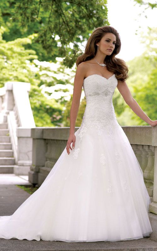 Lace wedding dress! I would add a little bling to it