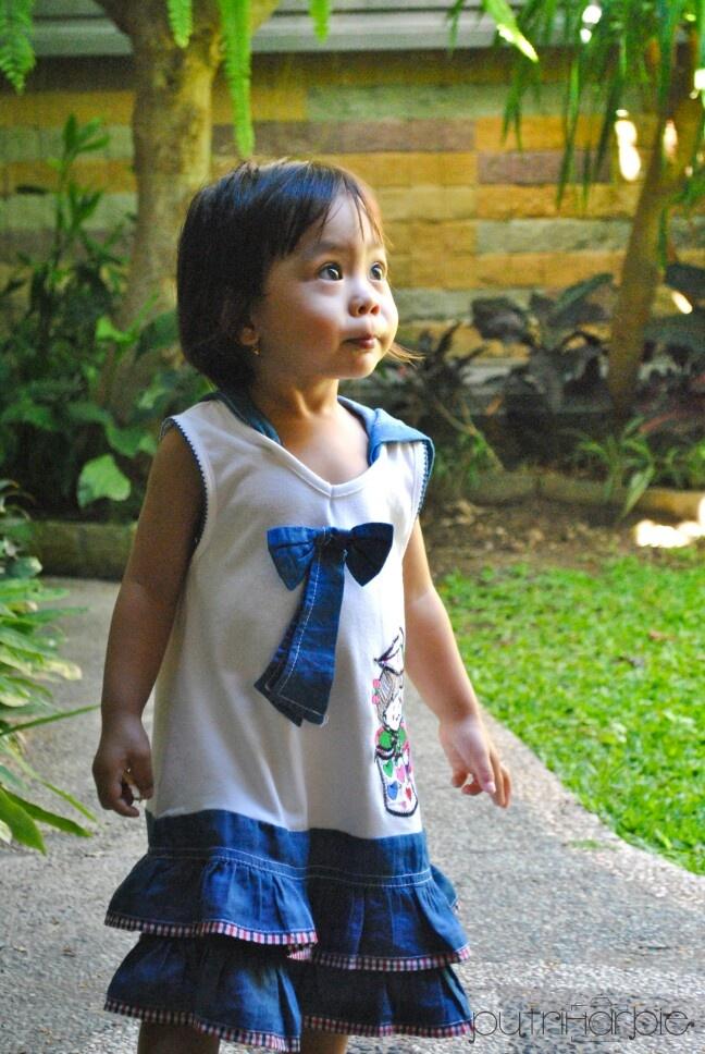 Farah walking around the garden