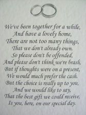 Wedding poems asking for money gifts not presents - Ref: no 10