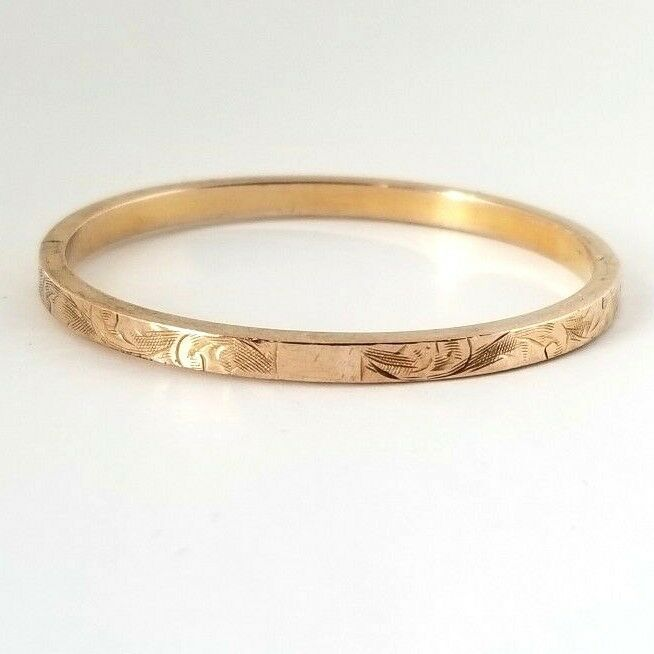 Antique Victorian Edwardian 10k Solid Gold Engraved Baby Bangle Bracelet 3 Grams Ebay Baby Bangle Bracelets Baby Bangles Bangles