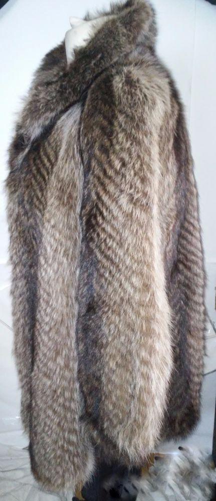 Racoon Fur Jacket Coat  Shawl Collar Real Fur - Very Soft Fur size L #Unbranded #Jacketwithshawlcollar