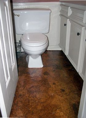 Tired of an old concrete floor in her powder room, CompulsiveInTexas blogger Susan Catney decided to bag it — literally. She took pieces of brown paper bags and contractor's paper, crumpled them up, soaked them in white glue, and pressed them tight to the floor. When dry, she stained them, then finished with multiple coats of polyurethane. The faux-leather look always get compliments.