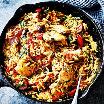 Orzo pasta, chicken, chorizo, tomatoes, olives & peppers