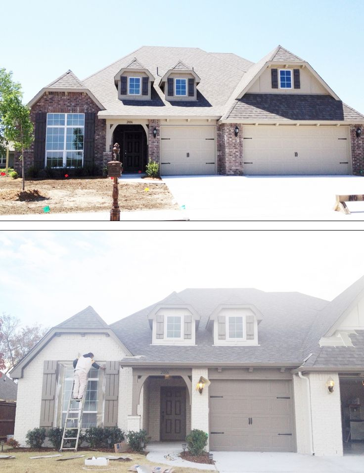 We painted the brick on our house. Here is a little before & after (or during rather). The color if the painted brick is Sherwin Williams Accessible Beige and the trim color is Benjamin Moore Texas leather.