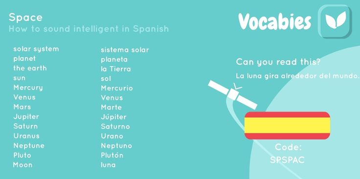 'How to sound intelligent in Spanish' by Vocabies app  Space  Use the code to download the words in Vocabies app and learn them there!