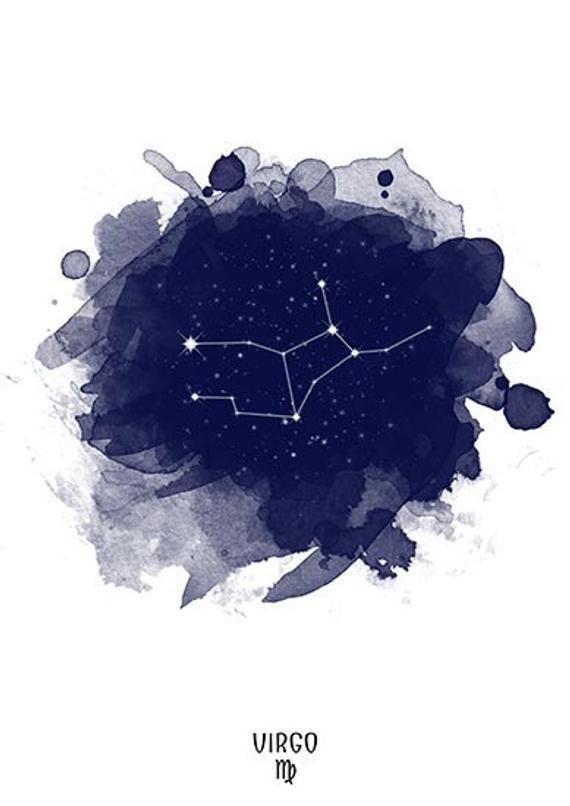 Sternbild Jungfrau, Sternzeichen Jungfrau, Sternbild, Virgo Aquarell, Sterne, Sterne, Virgo Digital, Tierkreis-Sternbild, Sternzeichen drucken