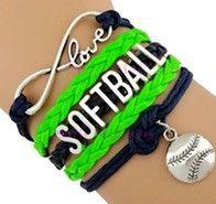Softball Bracelet - Neon Green/Navy