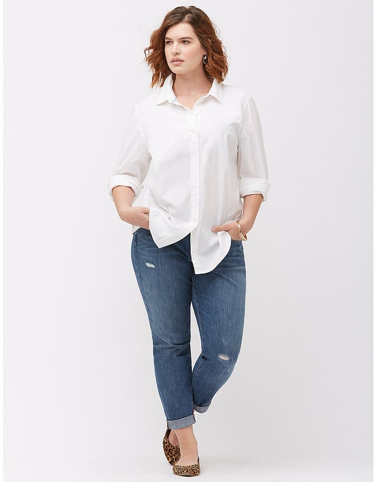 Plus size casual cotton buttondown