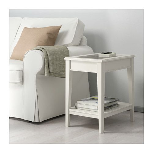 LIATORP Side table, white, glass white/glass 22 1/2x15 3/4