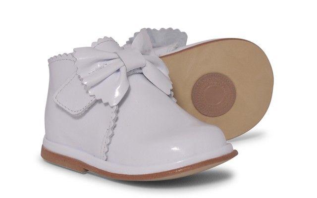 Baby Girls White Patent Velcro Boot