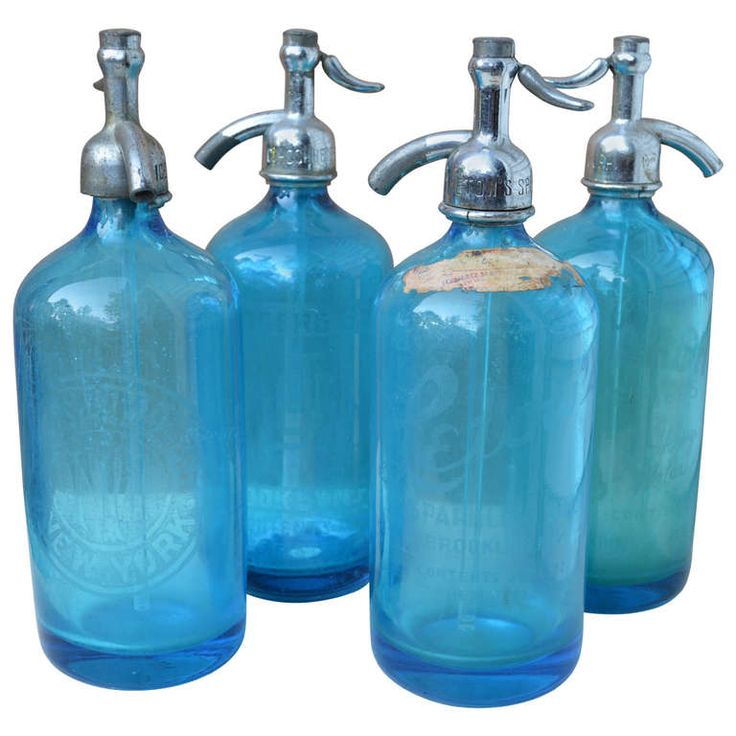 Four Azure-Blue Seltzer Bottles | From a unique collection of antique and modern decorative objects at https://www.1stdibs.com/furniture/more-furniture-collectibles/decorative-objects/