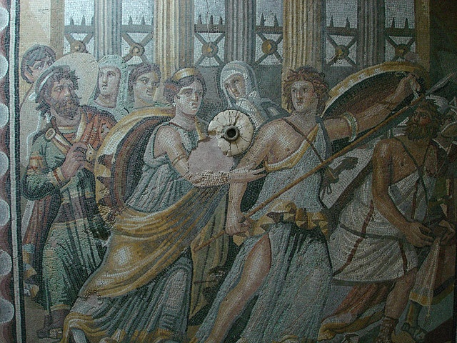 This is the oldest known depiction of Achilles, here shown being hidden from Odysseus by his mother. She had hidden him in her palace among her ladies, dressed in women's clothing (hence the frilly dress he's wearing).Odysseus, ever being the wily one, had brought the finest weapons on his ship to the palace. And when Achilles stopped to admire them, his cover was blown.  This mosaic was unearthed near Zeugma, Gaziantep, Turkey