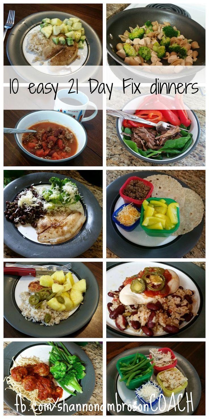10 easy 21 Day Fix dinners.  Visit http://shannonambroson.blogspot.com