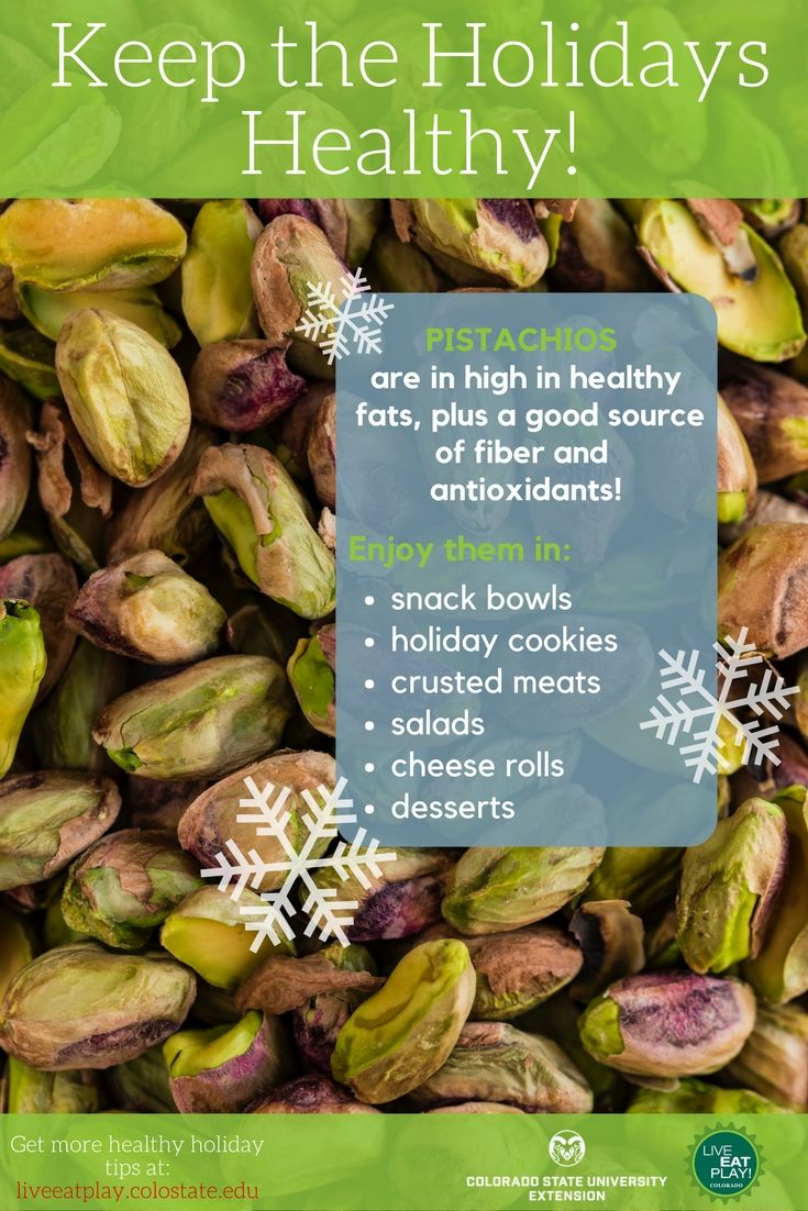 Did you know that pistachios are one of the lowest-calorie, lowest-fat, highest-fiber nuts? Bring some to a holiday party or incorporate them into your favorite holiday recipes for a nutrition-packed punch!