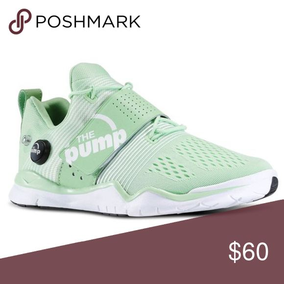 """Reebok Zpump Fusion - Mint Green Only worn one time. Like new condition!  Mesh Rubber sole Shaft measures approximately 3"""" from arch The powerframe fusion sleeve is a light-weight, seamless compression sleeve that fuses the pump technology to any foot Reebok Shoes Athletic Shoes"""