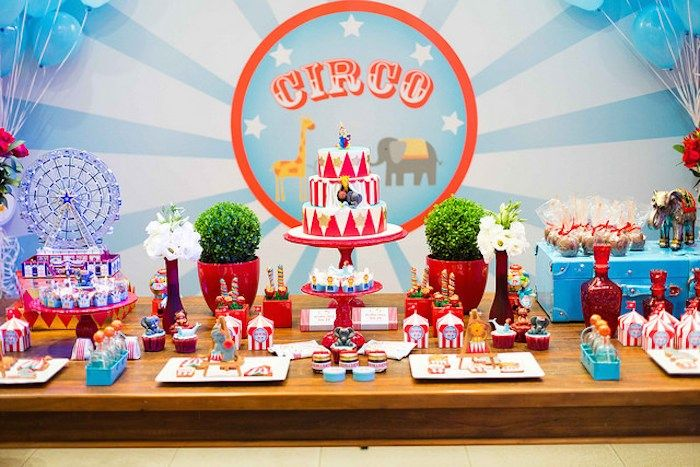 Circus themed birthday party via Kara's Party Ideas KarasPartyyIdeas.com #circusparty #bigtocircus #circuspartyideas (10)