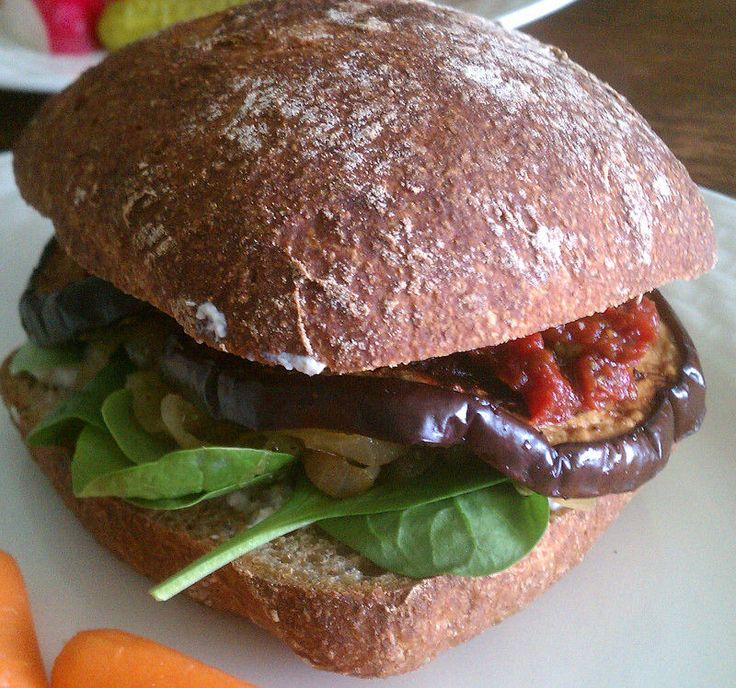 Roasted Vegan Eggplant Sandwiches with Caramelized Onions by An Unrefined Vegan.