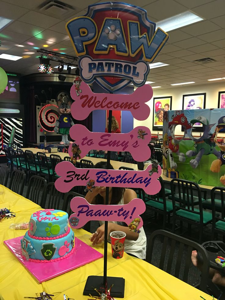This is an easy welcome sign you can do for a paw patrol themed party !! Very Inexpensive! Hobby lobby: $2 Foam poster, $5 letter stencils,  $2 stick, $2 bottom board, $4 sharpie pack, $5 utility knife (to cut foam poster). Party supply store: $8 backdrop ((for paw patrol sign at top, was cut out and taped to foam poster)). Used a glue gun for bones, tape for the sign, and a screw drilled in from bottom to support stick!! Good luck !!