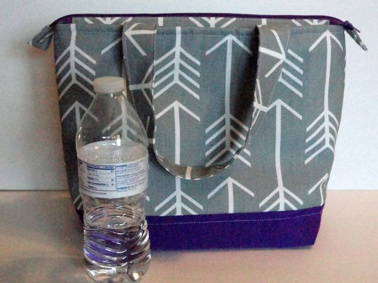 Lunch Bag, Insulated, Grey Arrow Print, Womens Lunch Bag, Girls Lunch Bag,  Zipper Top, Made to Order, Choose Your Color and Size - pinned by pin4etsy.com