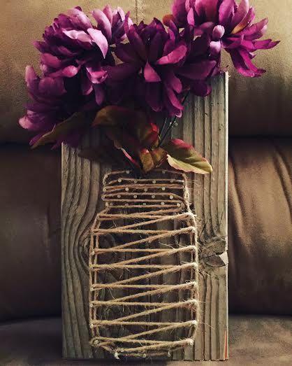 Flower vase w flower homemade string art on wood board