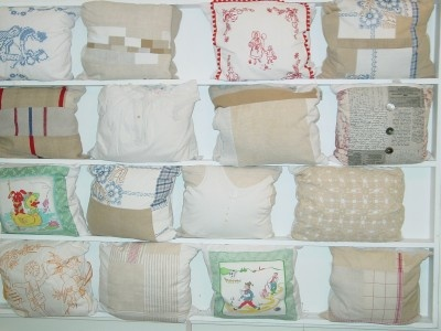 pillows made of damaged vintage linens