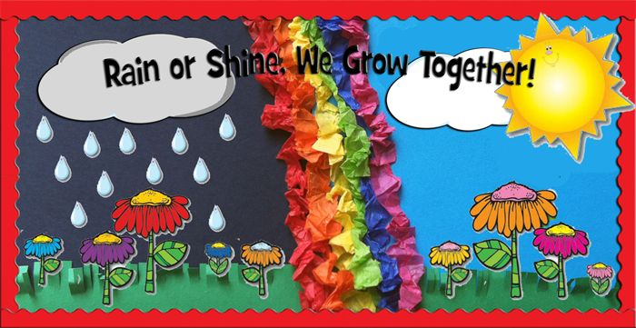 Pre Primary Classroom Decoration Ideas ~ Rain or shine we grow together spring bulletin board