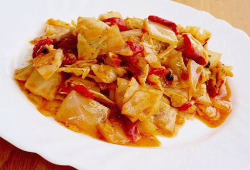 Home food: Жареная капуста с запеченным перцем / Fried cabbage with roasted peppers