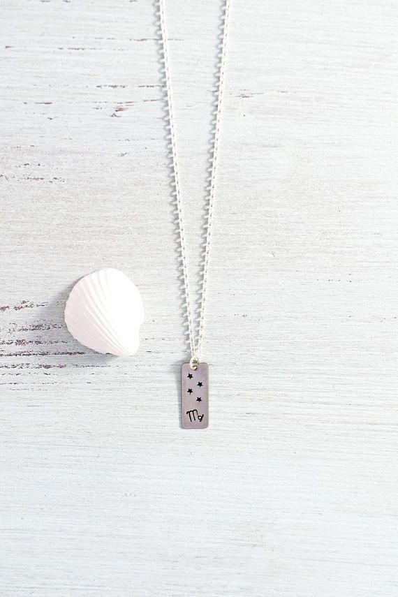 Virgo star sign necklace - Virgo zodiac symbol with stars bar necklace - Gold or silver Virgo zodiac necklace - Virgo horoscope necklace
