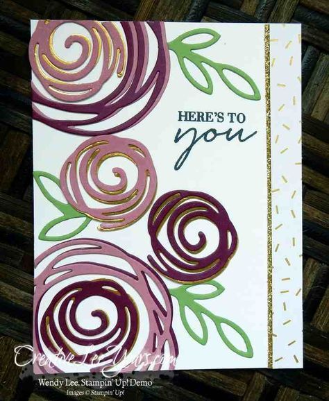 handmade greeting card by  Wendy Lee, ... Swirly Bird die cuts ... luv the mauvy colors with hidden bits of gold foil flowers showing  as shadows ... photo tutorial o her blog ... Stampin' Up!