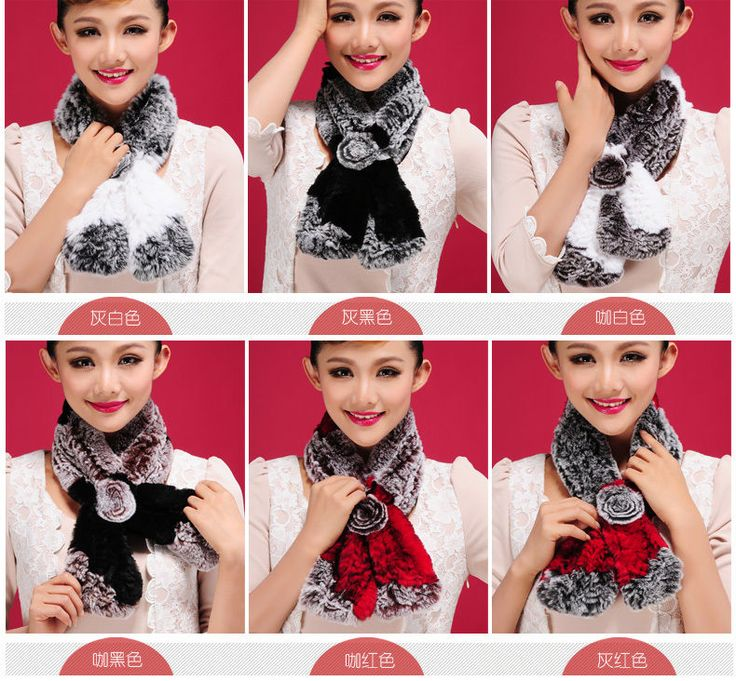 6 Colors New Floral Soft Real Rex Rabbit Real Fur Lady Scarf  #Handmade #Scarf #WinterKeepWarm