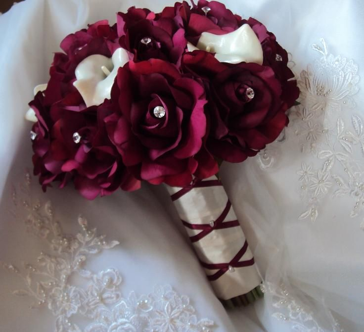 Real Touch Burgundy Roses and Real Touch Ivory Calla Lilies Wedding Bridal Bouquet