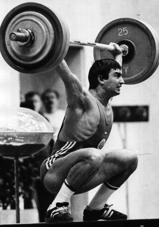Aen Zlatev (75/82.5), Bulgaria Snatch - 183kg Clean & Jerk - 225kg Total - 405kg - 10 World Records - Olympic Gold ('80 Moscow) - 3x World Champion ('80 Moscow, '82 Ljubljana, '86 Sofia), 3x Silver Medalist - 5x European Champion ('80 Boegrad, '82 Ljubljana, '84 Vittorio, '85 Katowice, '87 Reims), 3x Silver Medalist #weightlifting #throwback