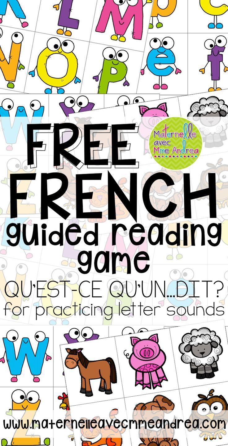 FREE French guided reading game | Jeu GRATUIT pour la lecture guidée | qu'est-ce qu'un... dit? | pratiquer les sons des lettres | alphabet | maternelle