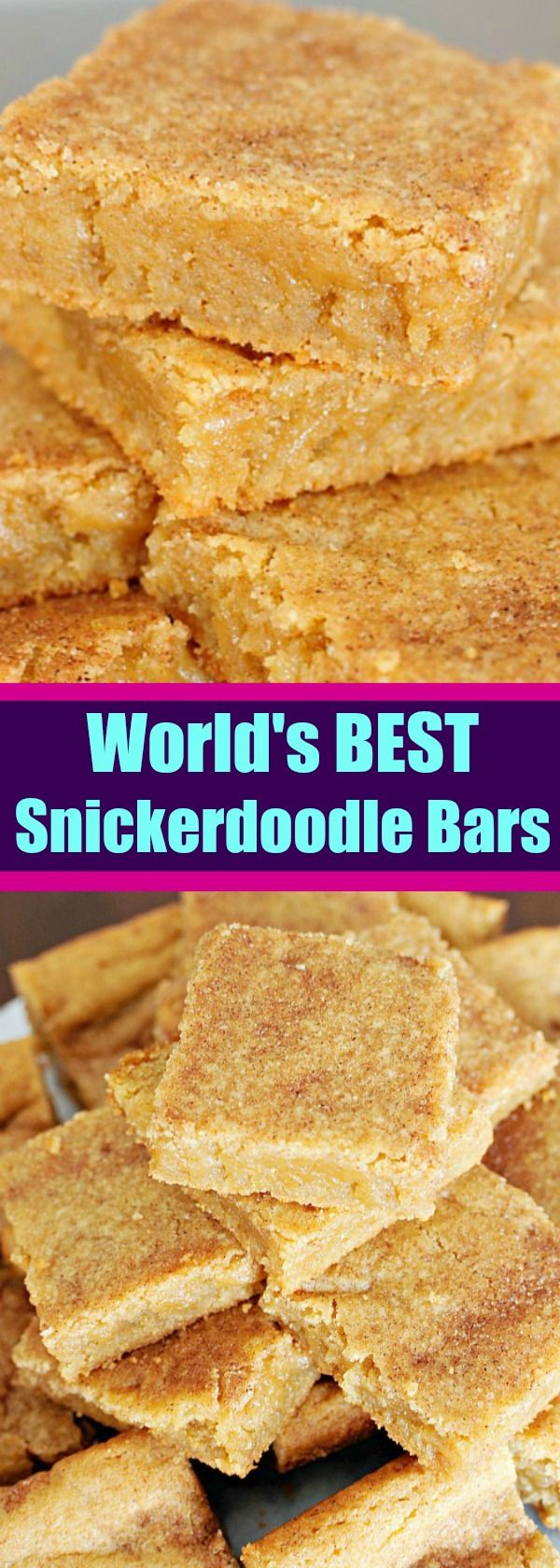 Everyone asks for this recipe!! The World's BEST Soft and Chewy Snickerdoodle Bars.