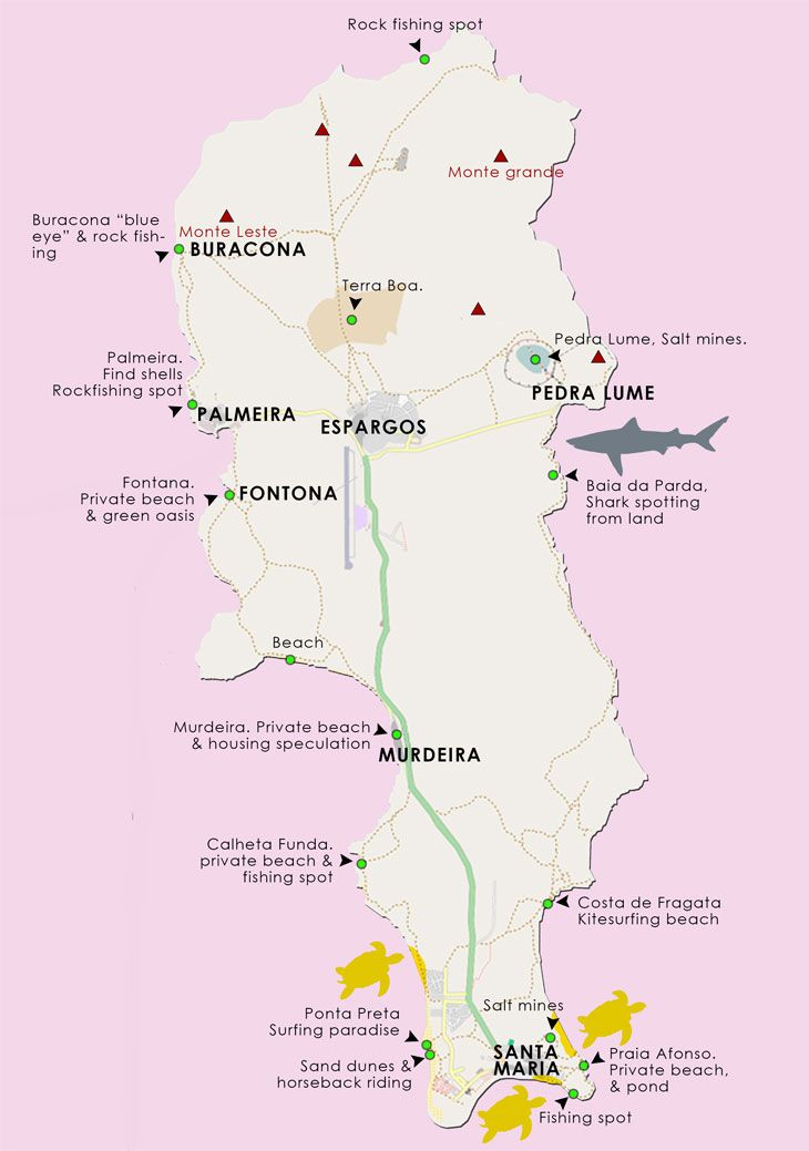 Cape Verde Map of Sal, free activities, attractions & empty beaches