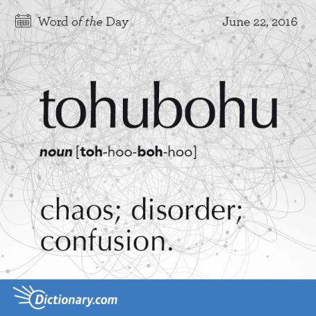 Tohubohu: Chaos; disorder; confusion
