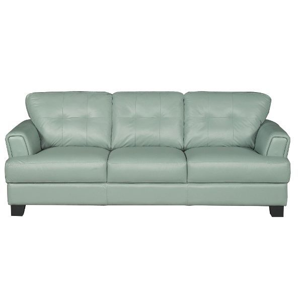 Looking To Relax With A Subtle Pop Of Color Look No Further Than This Contemporary Seafoam Green Leather Sofa House Ideas Pinterest