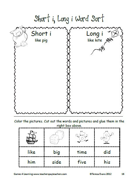 Word sort for short and long i. This is a Long i i_e Word Work unit from Games 4 Learning. $