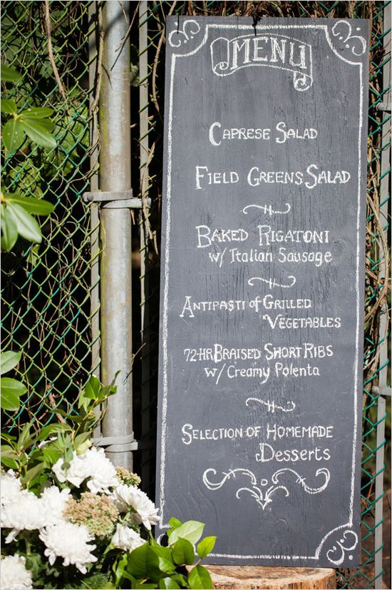 Chalkboard menu ideas. Captured By: Erica Chan Photography http://www.weddingchicks.com/2014/06/20/handcrafted-barn-wedding-2/