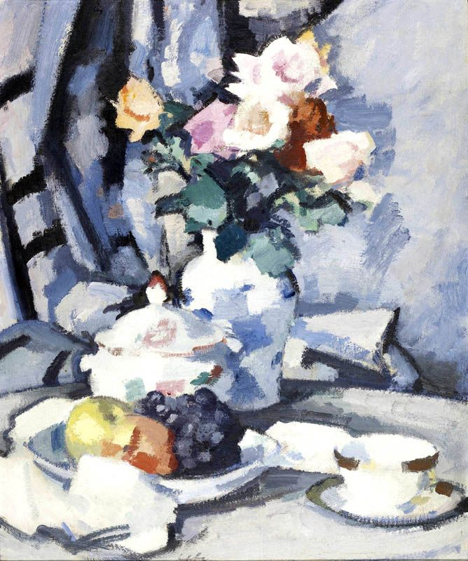 S J Peploe - Still Life with Roses and Fruit, 1924