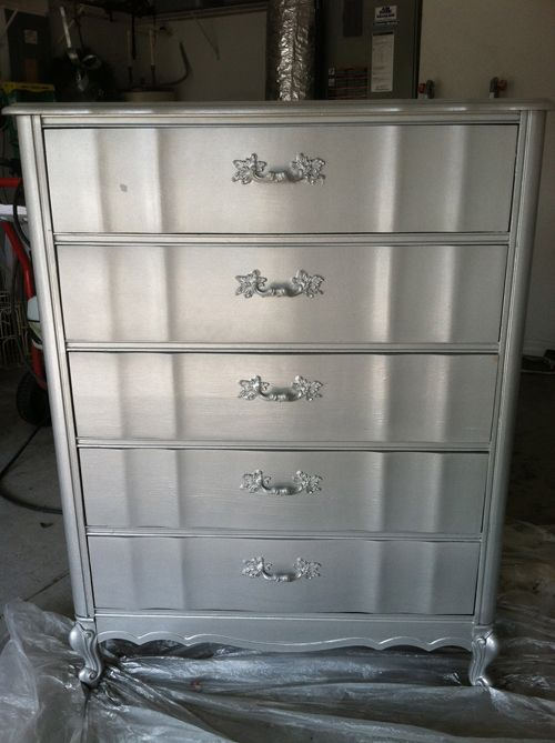 Diy metallic furniture Pearl Painted Diy Silver Painted Furniture Step Four Spray One Coat Of Rustoleum Evenly Allow To Dry Hour Furniture Painted Furniture Painted Furniture Caddeaktuelinfo Diy Silver Painted Furniture Step Four Spray One Coat Of Rust