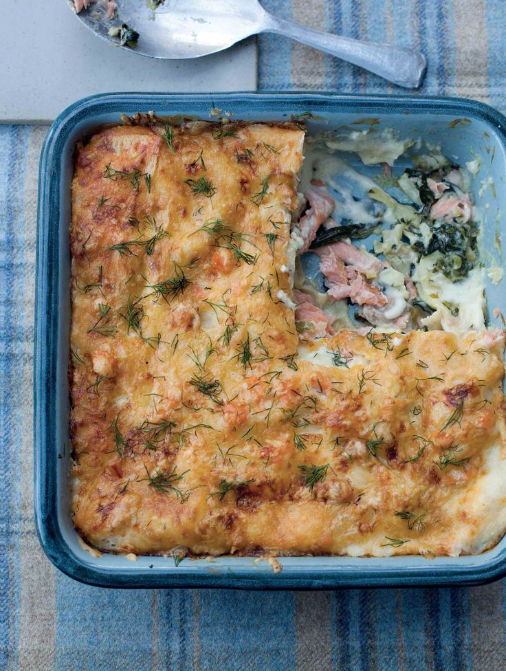 Smoked salmon and spinach lasagne recipe from Kitchin Suppers by Tom Kitchin | Cooked