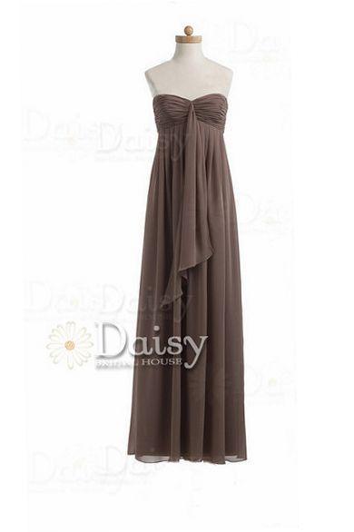 Handmade Long Mocha Bridesmaid Dress Brown Chiffon Bridesmaid Dress(BM892A)