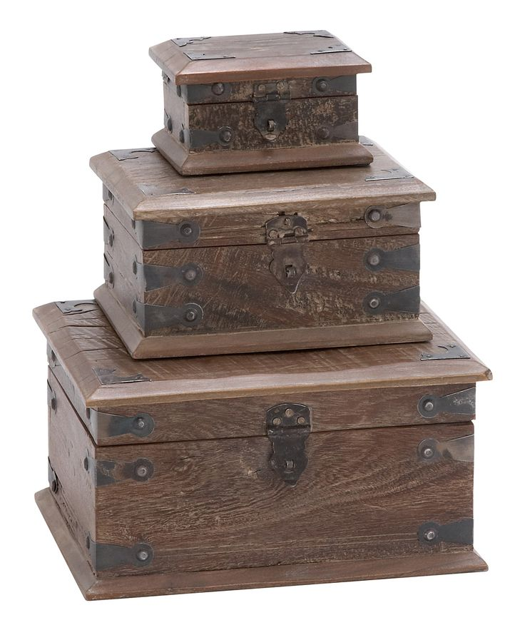 DecMode Reclaimed Wood Decorative Box - Set of 3 - 28700  sc 1 st  Pinterest & 132 best Wooden Boxes images on Pinterest | Small wooden boxes ... Aboutintivar.Com
