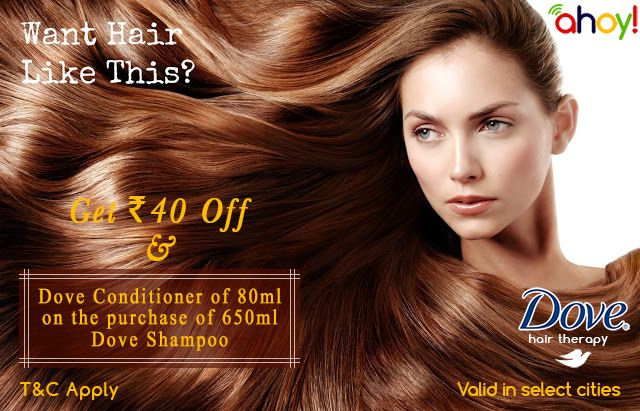 Uahoy offering Rs. 40/- off on Dove shampoo and also get Free conditioner worth 80ml. On purchase of 650ml #Shampoo bottle. To get more information and #coupon visit http://ads.uahoy.in/dove/?src=socialmedia