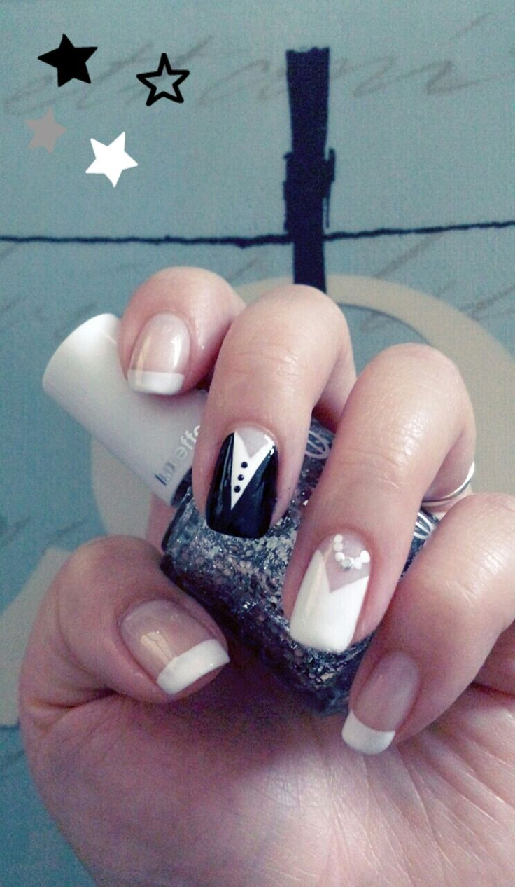 Wedding day nails. Start with a light pink shade as a back drop, then use a classic white and black polish striper for the bride & groom design. Lastly, use a glitter or rhinestone decal for the necklace. Enjoy on your special day!