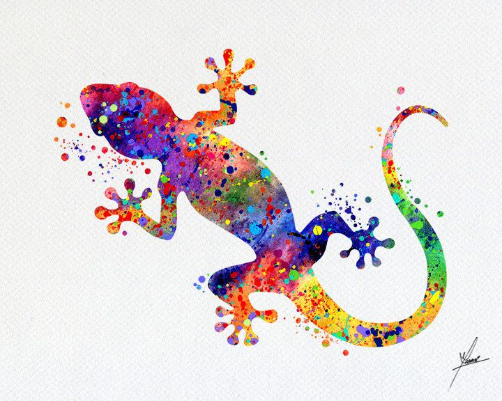 Gecko Lizard Art Print Watercolor Illustrations Wall Art Poster